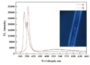 ZnO microtubes PL spectroscopy at different position